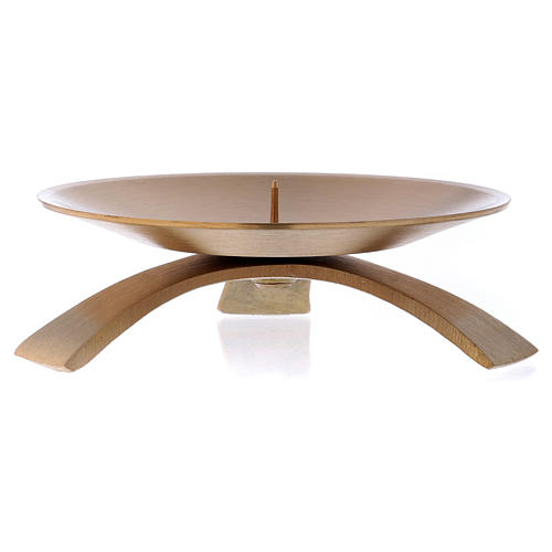 Three-legged candle holder with spike in gold-plated brass 9.5 cm 2