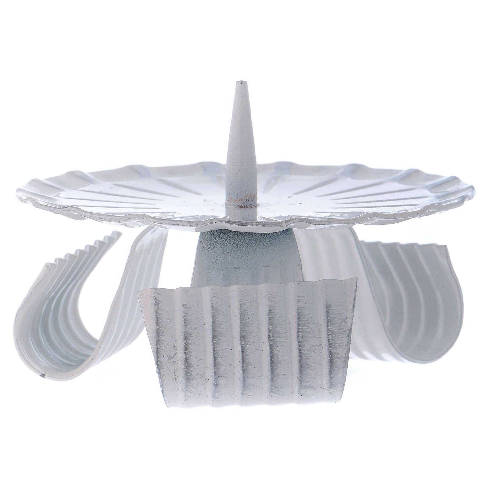 Portacandele tre piedi con spuntone in ferro bianco d. 10 cm 3