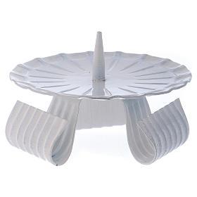 Portacandele tre piedi con spuntone in ferro bianco d. 10 cm s1
