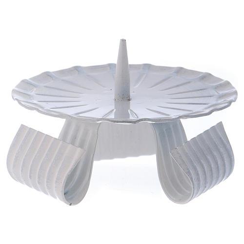 Portacandele tre piedi con spuntone in ferro bianco d. 10 cm 1