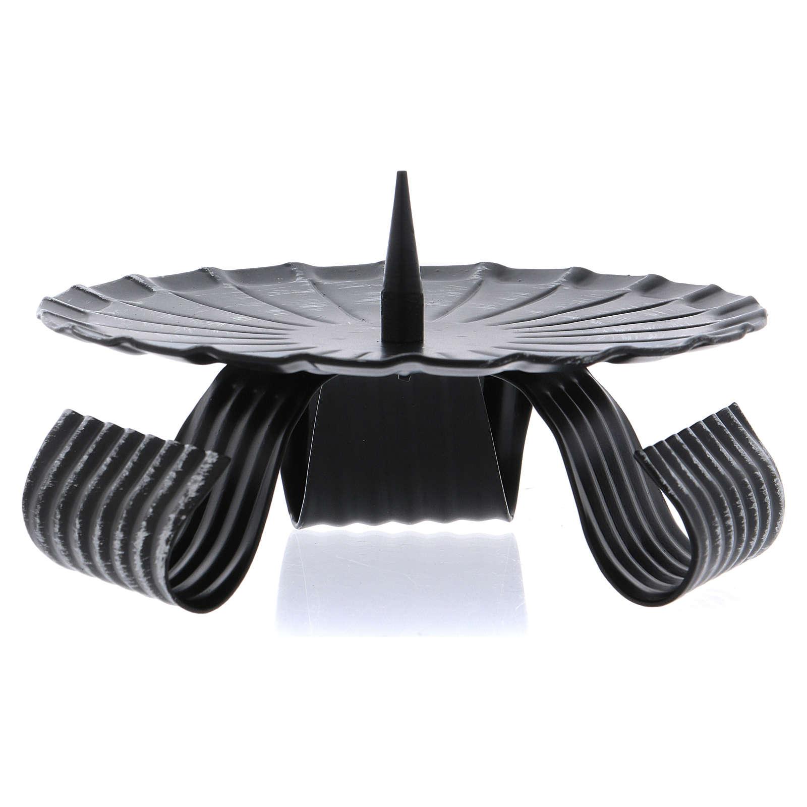 Portavelas tres pies negro punta central hierro negro 12 cm 3