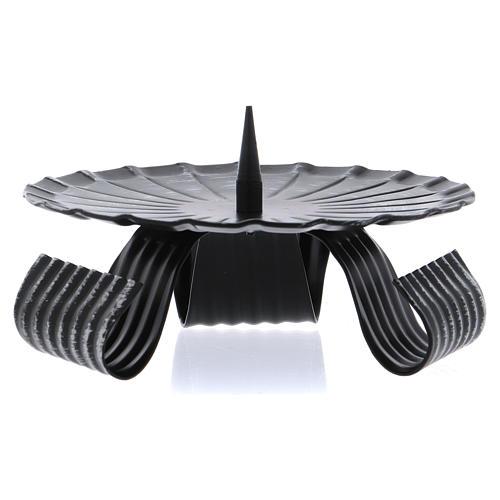 Portavelas tres pies negro punta central hierro negro 12 cm 1