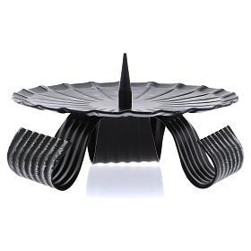 Portacandele treppiedi nero spuntone centrale ferro nero 12 cm s1