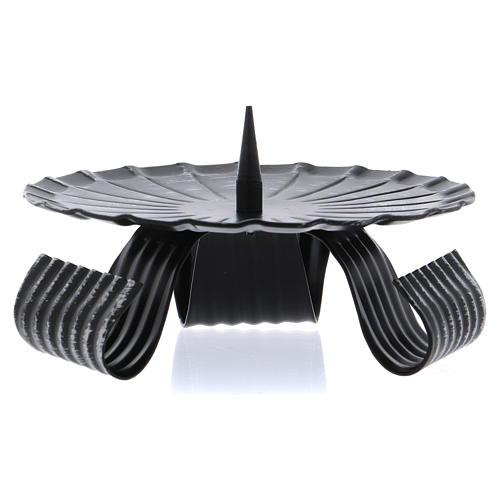 Portacandele treppiedi nero spuntone centrale ferro nero 12 cm 1