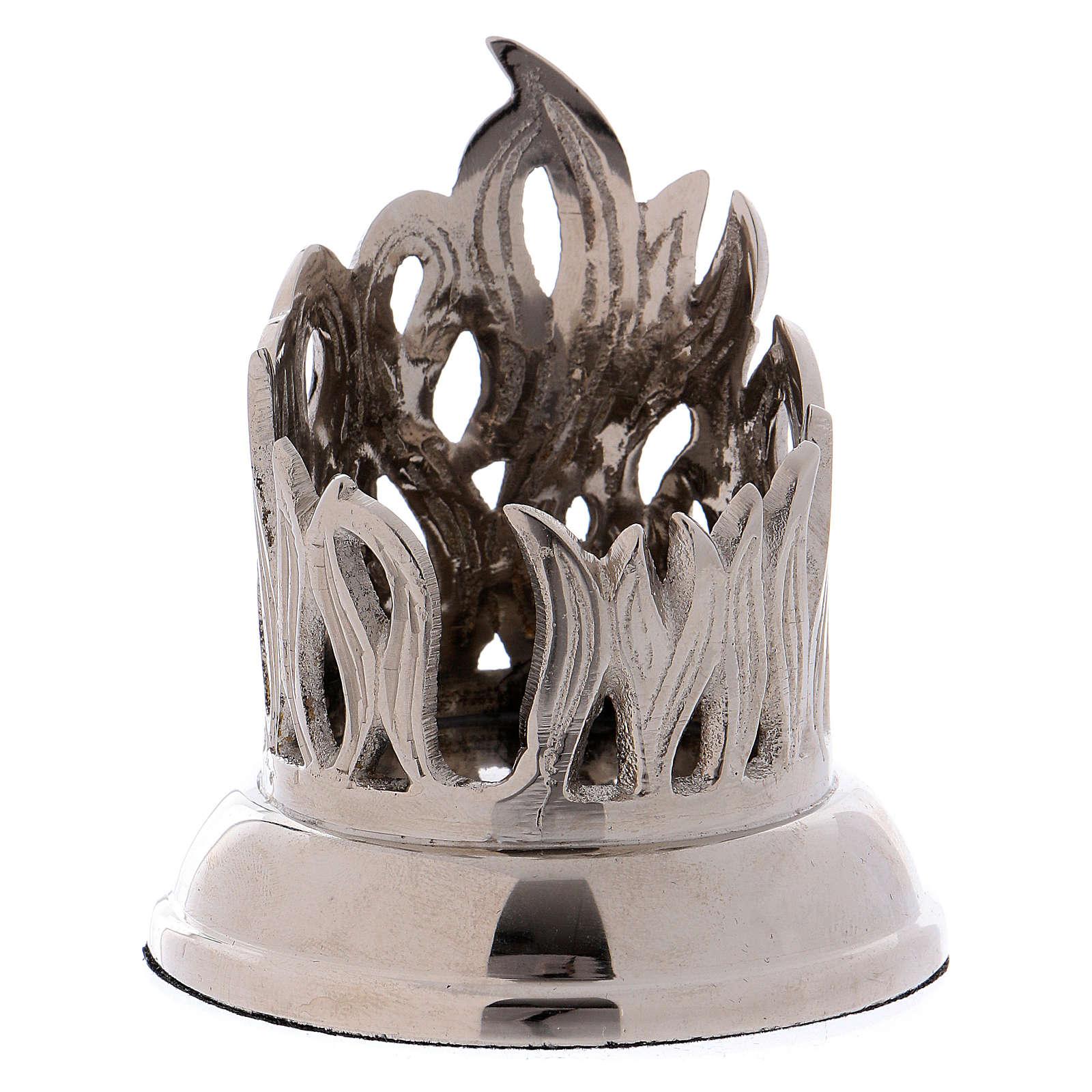 Portacandele fiamma ottone argentato 4 cm  4