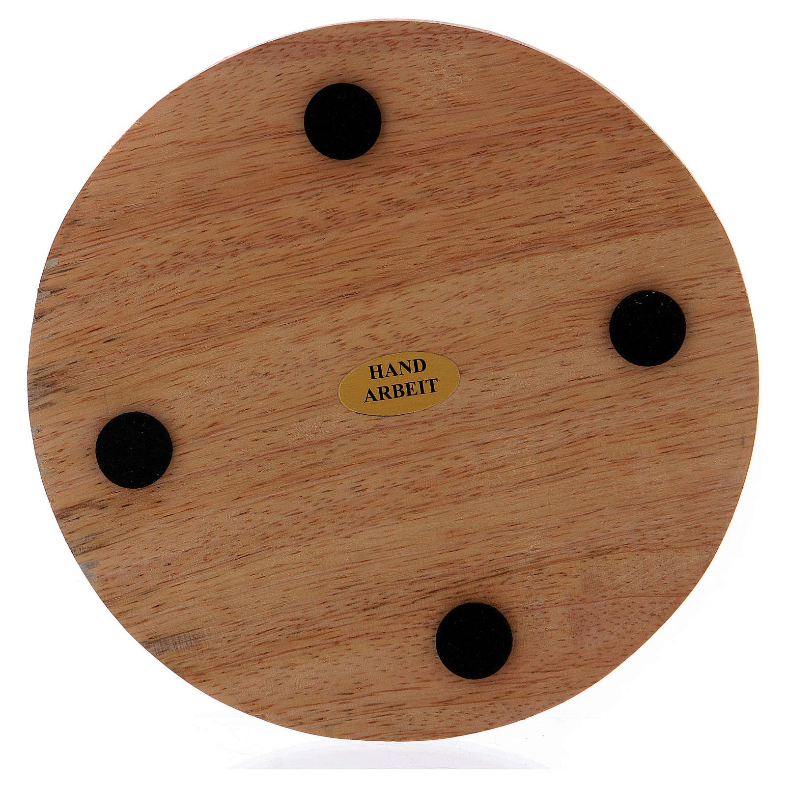 Piatto portacandele tondo in legno mango scuro 12 cm 3