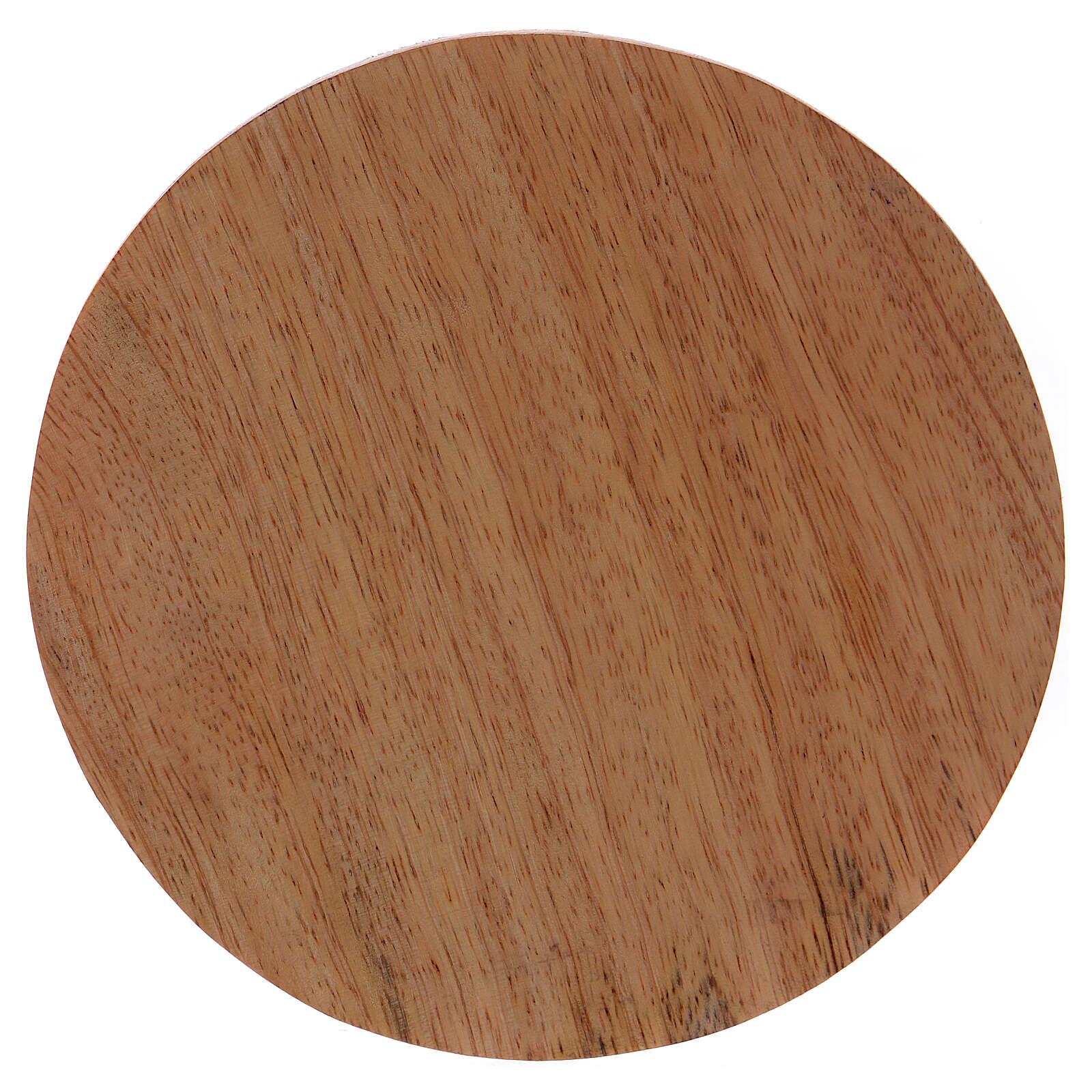 Round dark mango wood candle holder plate 4 3/4 in 3