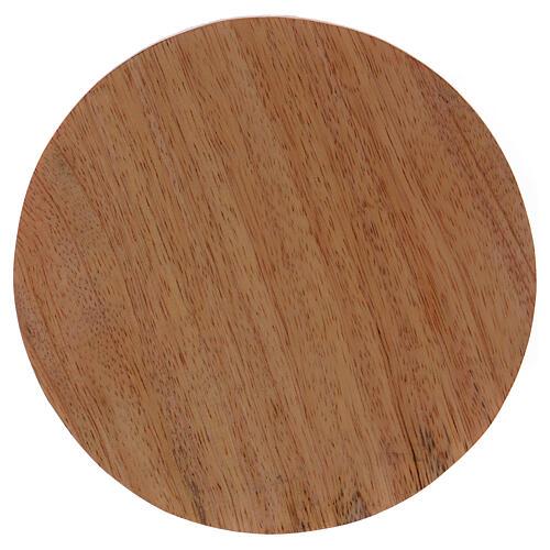 Round dark mango wood candle holder plate 4 3/4 in 1