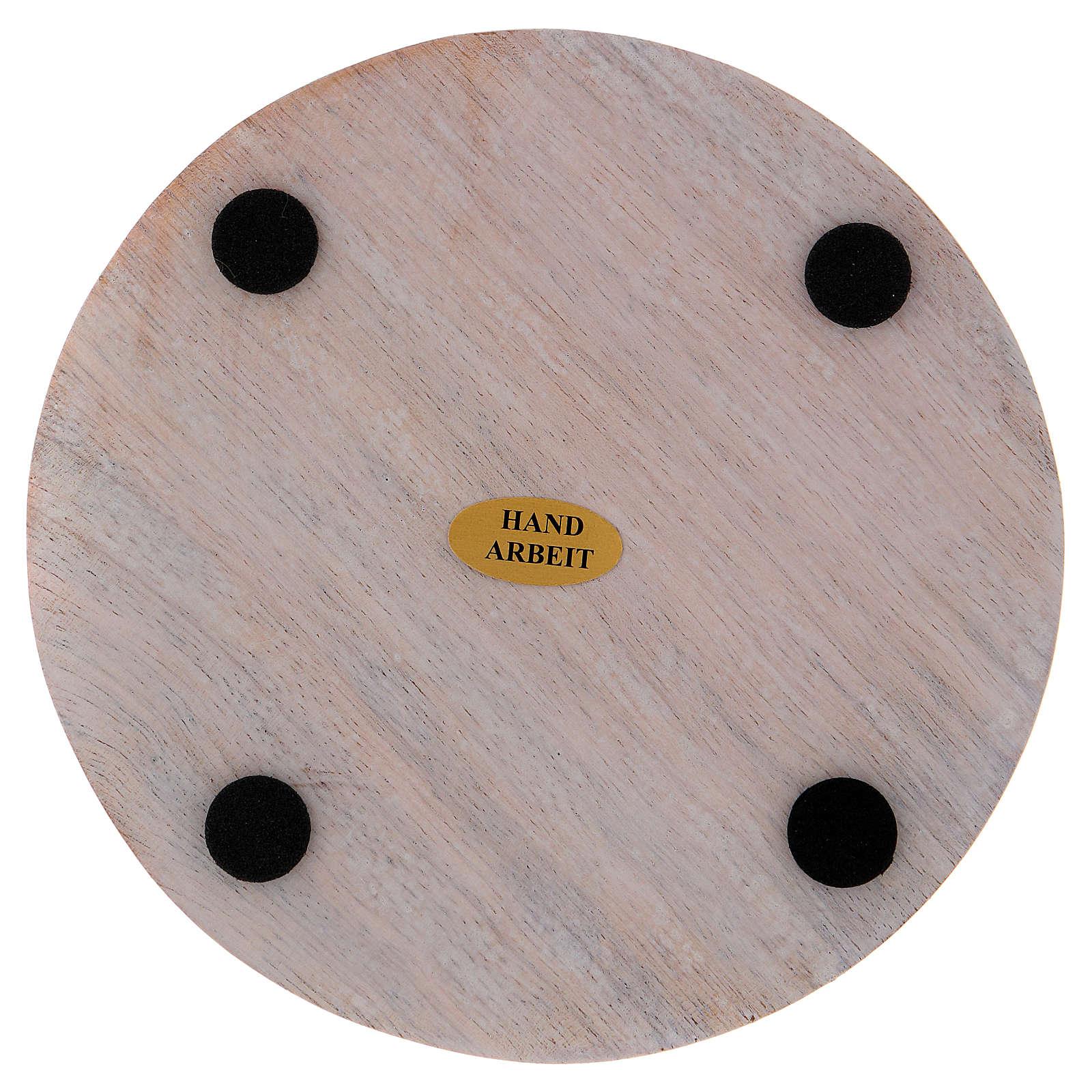 Piatto portacandele legno dipinto 12 cm 3