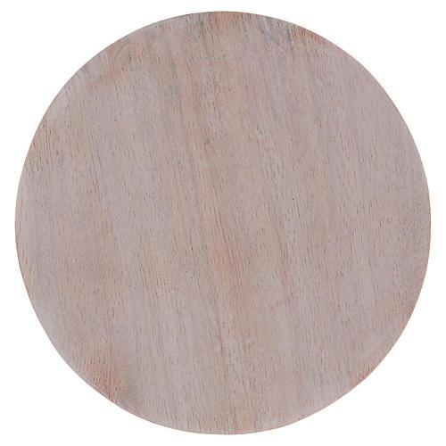 Piatto portacandele legno dipinto 12 cm 1