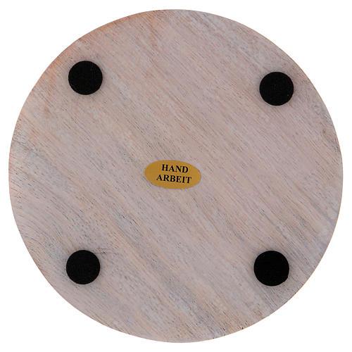 Piatto portacandele legno dipinto 12 cm 2