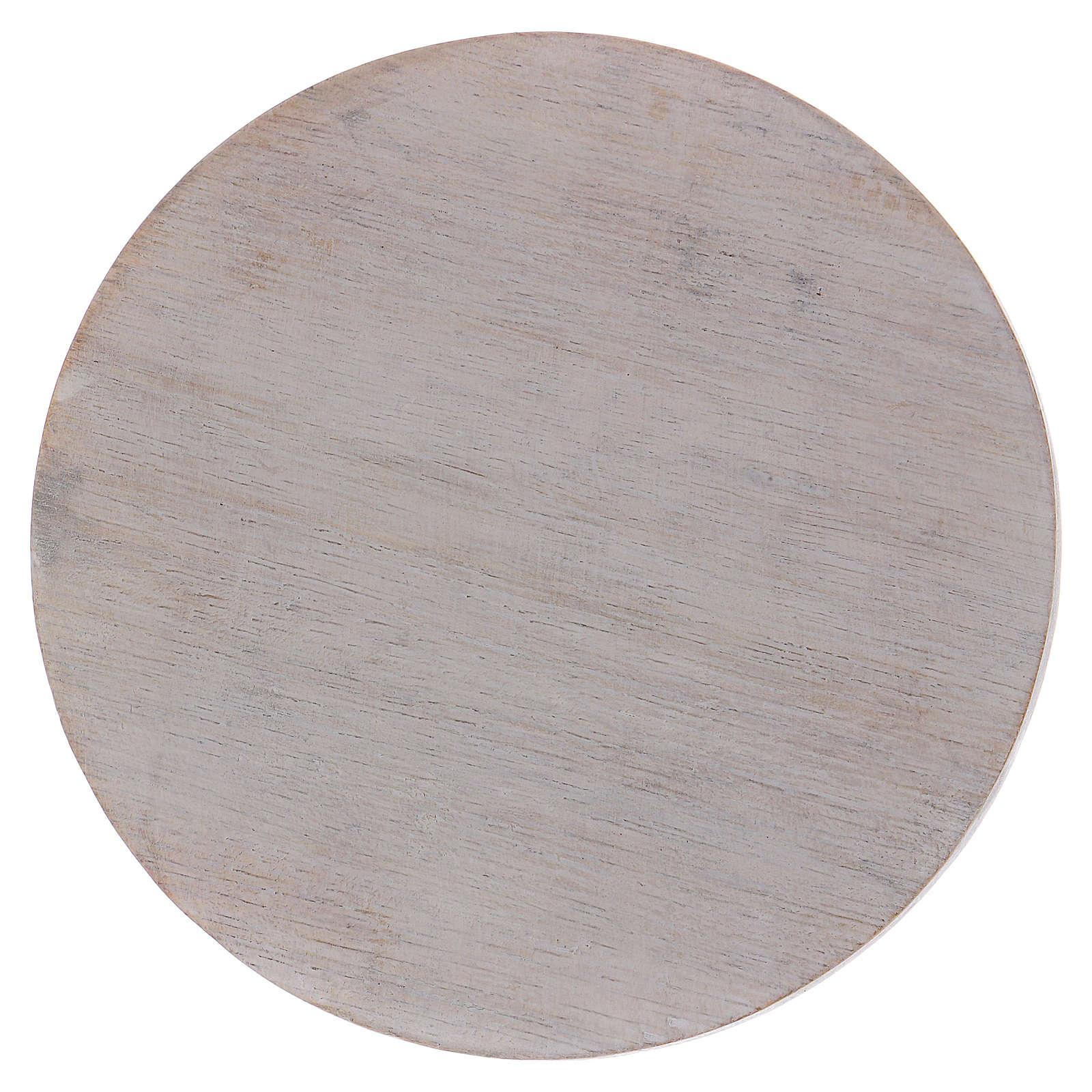 Piatto portacandele in legno avorio 10 cm 3