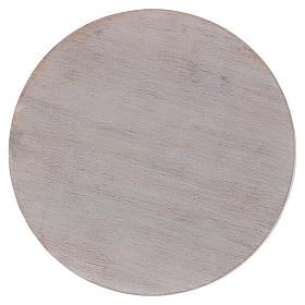Piatto portacandele in legno avorio 10 cm s1