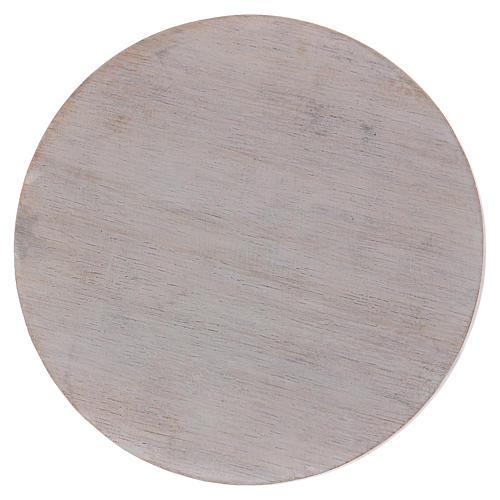 Piatto portacandele in legno avorio 10 cm 1
