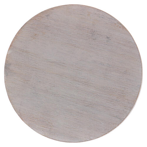 Ivory-colored wood candle holder plate 4 in 1