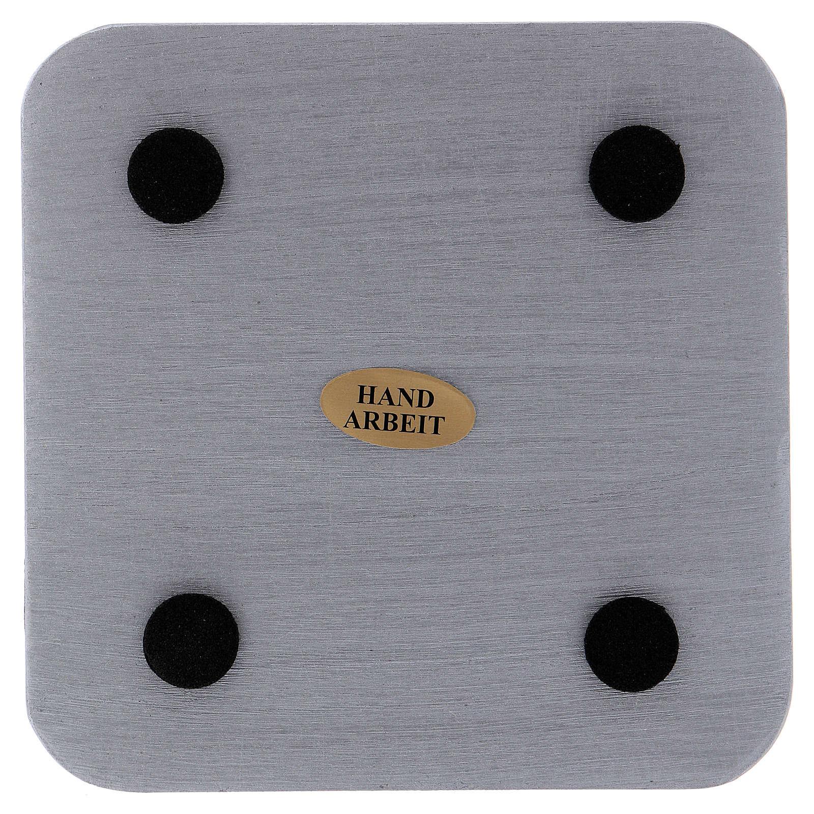 Piatto portacandele quadrato alluminio argentato 10x10 cm 3