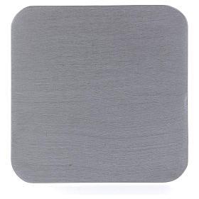 Piatto portacandele quadrato alluminio argentato 10x10 cm s1
