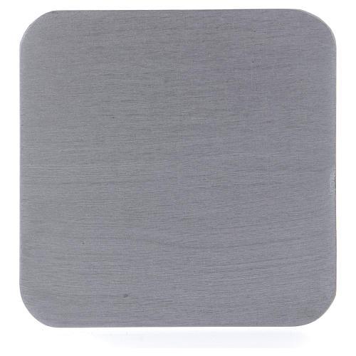Piatto portacandele quadrato alluminio argentato 10x10 cm 1
