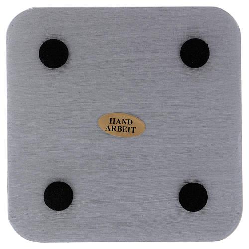 Piatto portacandele quadrato alluminio argentato 10x10 cm 2