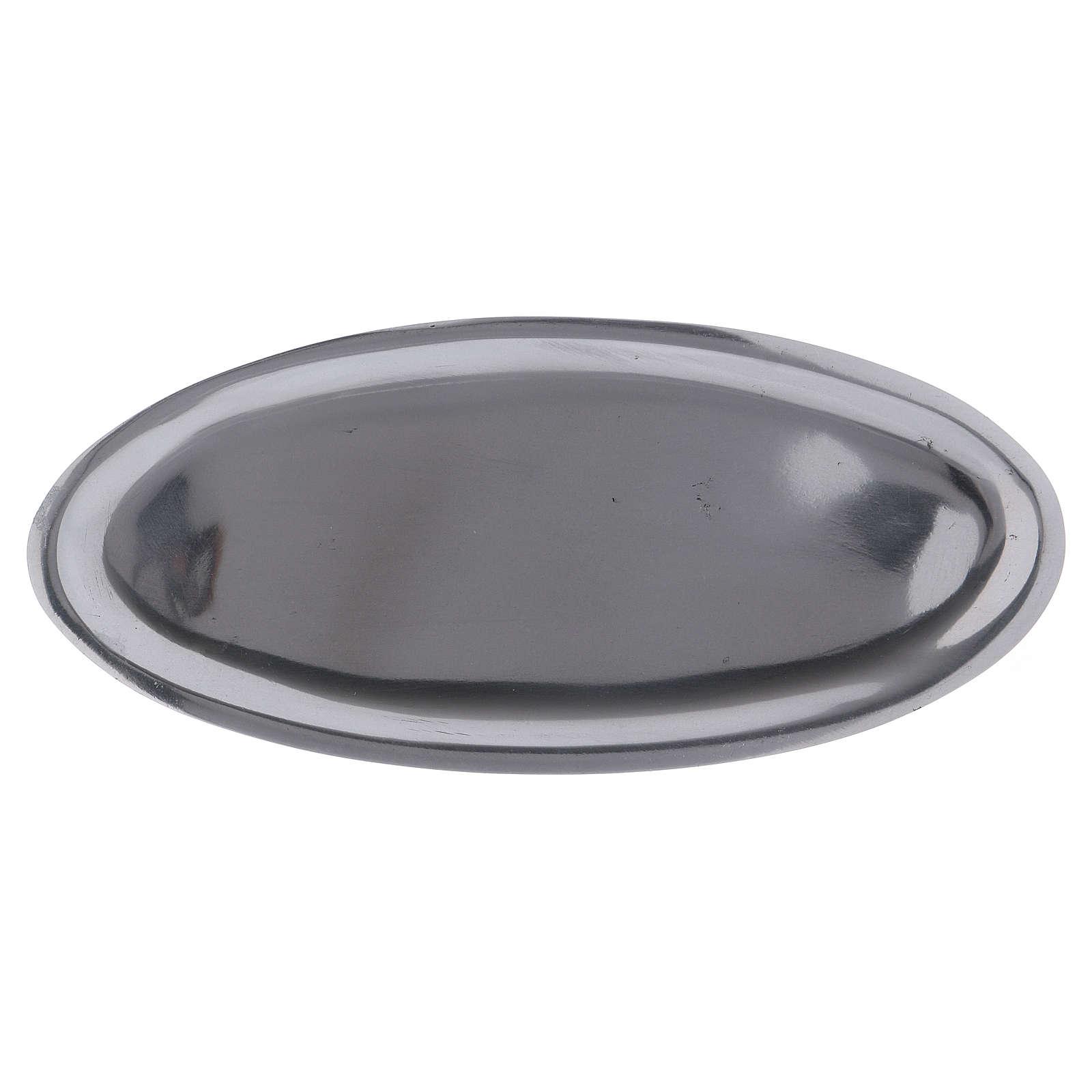 Piatto portacandele ovale in alluminio argento lucido 16x7 cm 3