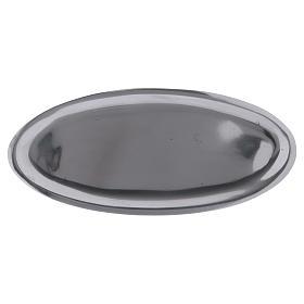 Piatto portacandele ovale in alluminio argento lucido 16x7 cm s1