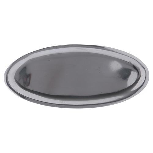 Piatto portacandele ovale in alluminio argento lucido 16x7 cm 1
