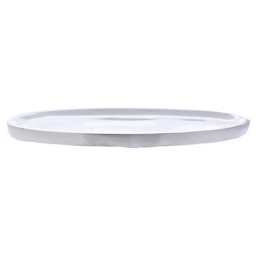 Piatto portacandele ovale in alluminio argento lucido 16x7 cm 2
