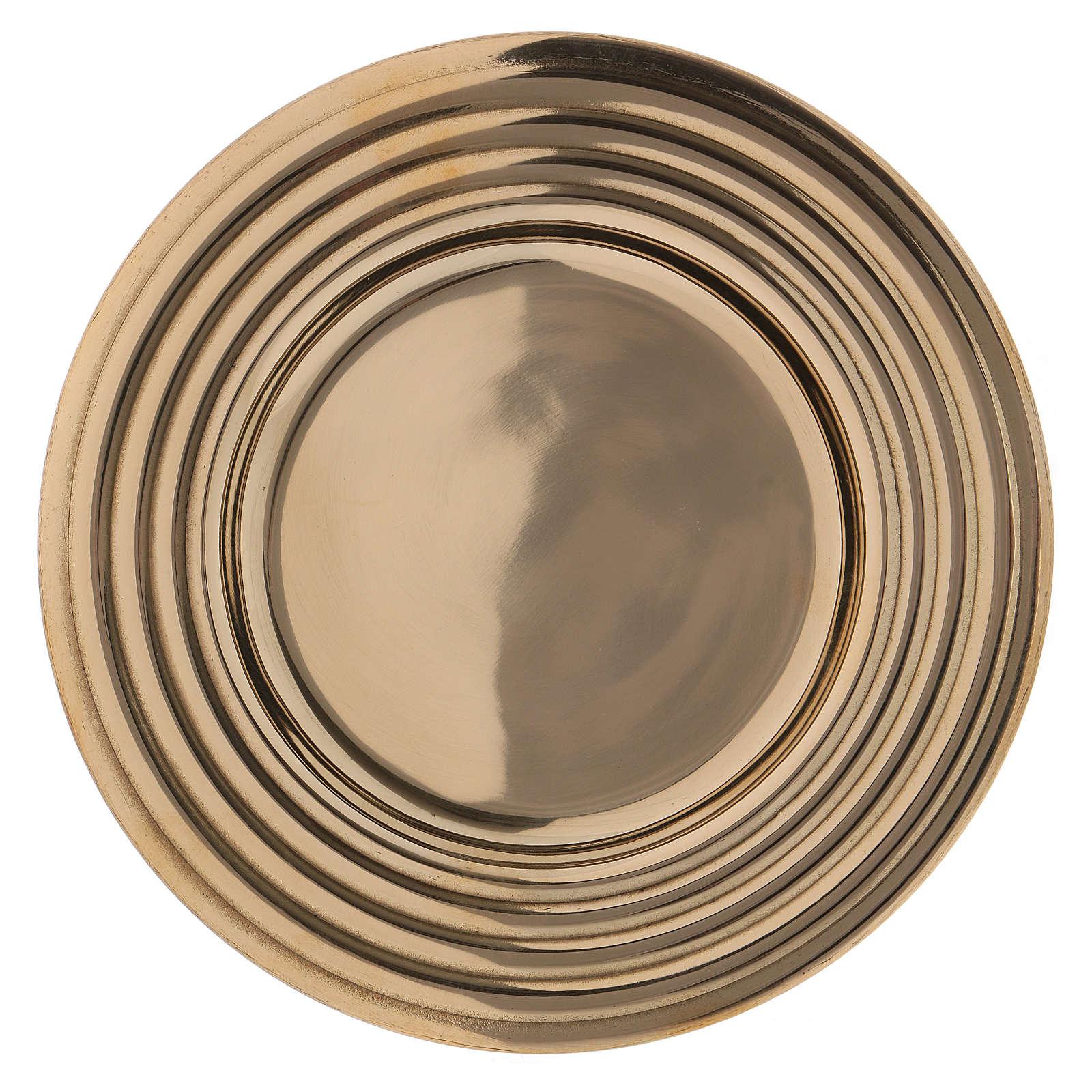 Plato portavelas redondo latón dorado lúcido 15 cm 3