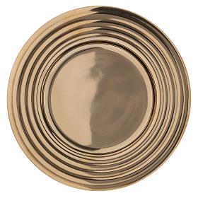 Plato portavelas redondo latón dorado lúcido 15 cm s1