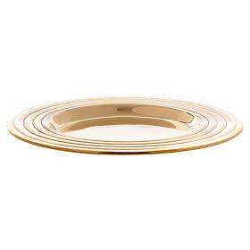 Plato portavelas redondo latón dorado lúcido 15 cm s2
