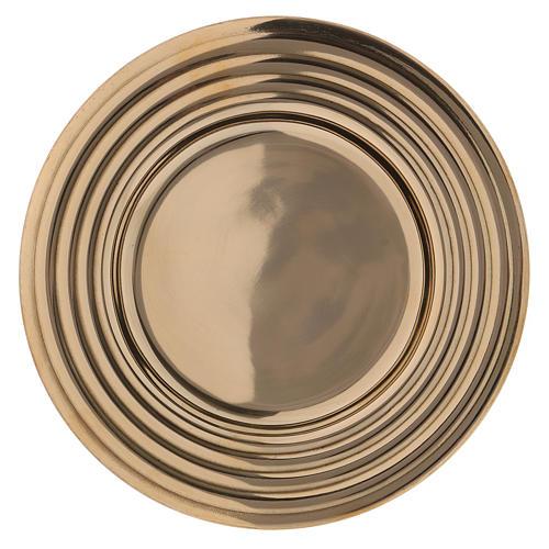 Plato portavelas redondo latón dorado lúcido 15 cm 1