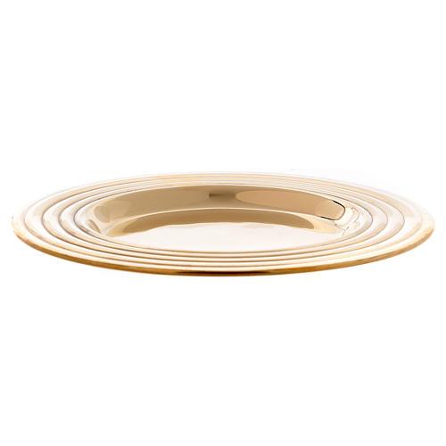 Plato portavelas redondo latón dorado lúcido 15 cm 2