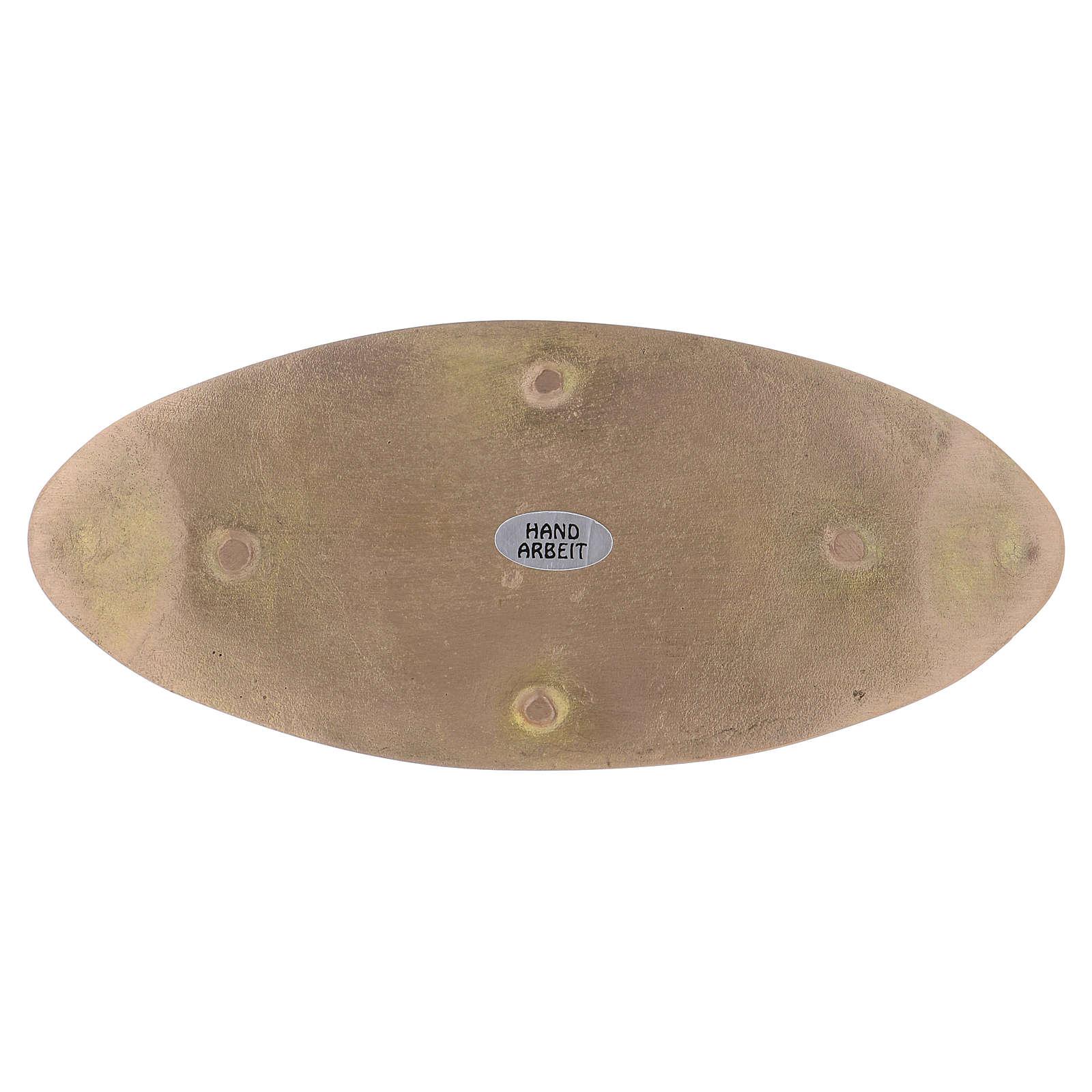 Piatto portacandele ovale ottone opaco 18x7,5 cm  3