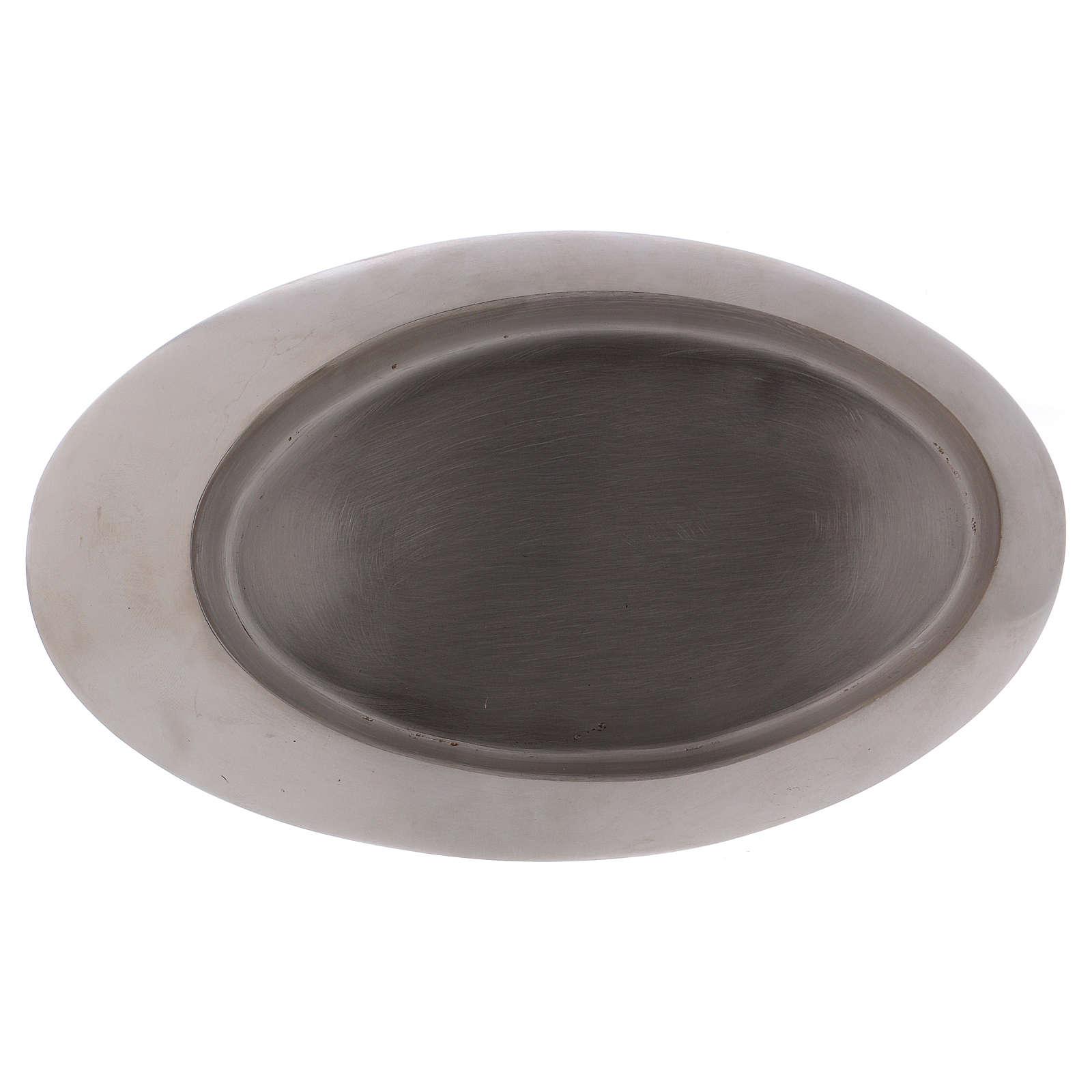 Piatto portacandele ottone argento satinato 20x11 cm 4