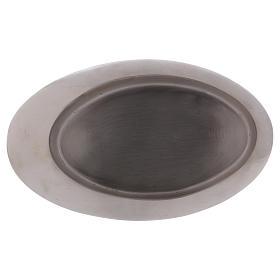 Piatto portacandele ottone argento satinato 20x11 cm s3