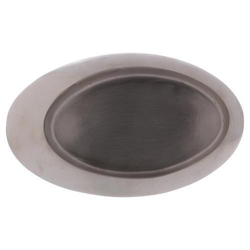 Piatto portacandele ottone argento satinato 20x11 cm 3