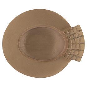 Chandeliers métal: Assiette à bougie poignée décorée laiton doré 12x11 cm