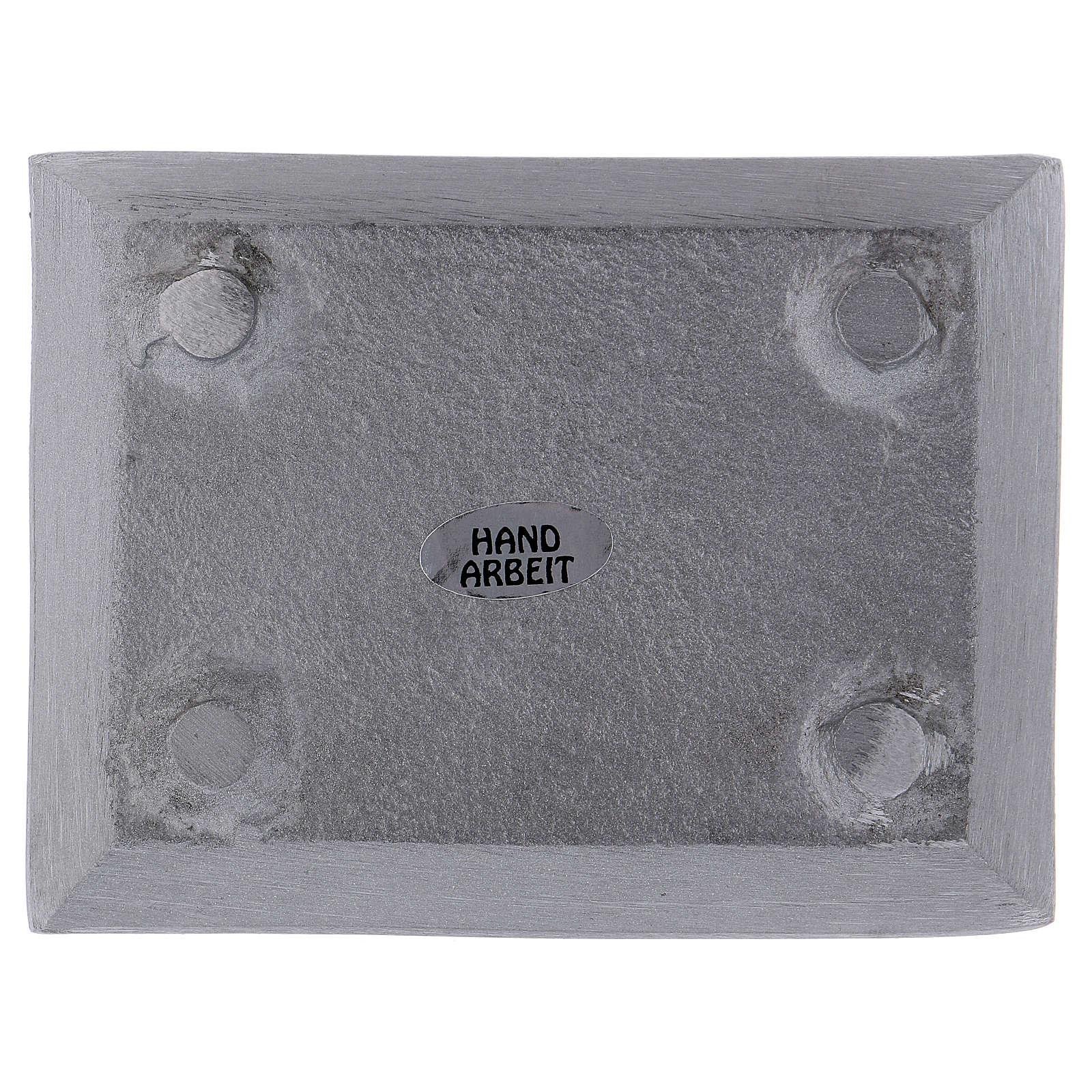 Piatto portacandele rettangolare alluminio argento opaco 10x7 cm 3