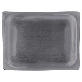 Piatto portacandele rettangolare alluminio argento opaco 10x7 cm s1