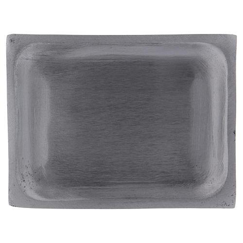 Piatto portacandele rettangolare alluminio argento opaco 10x7 cm 1