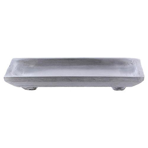 Piatto portacandele rettangolare alluminio argento opaco 10x7 cm 2