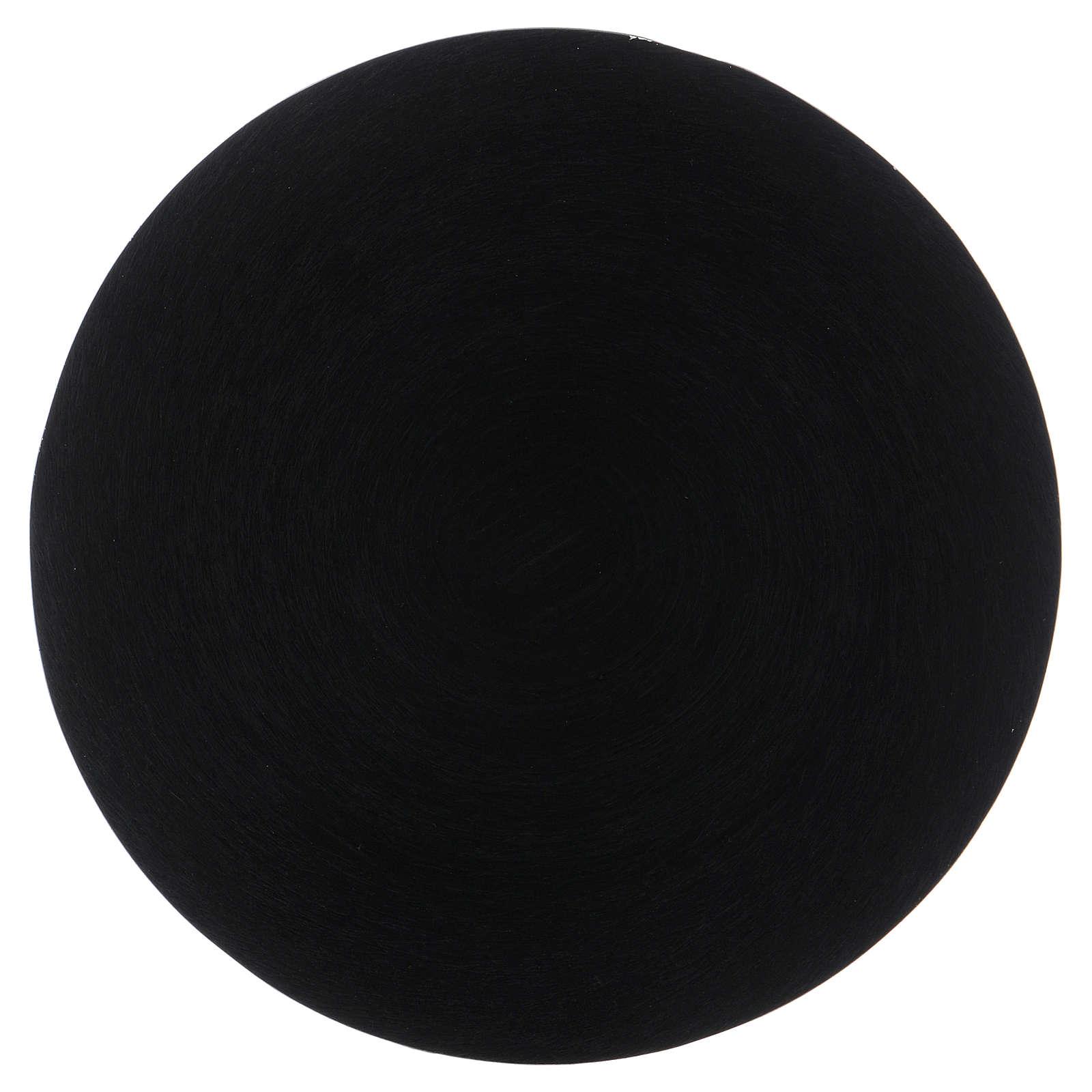 Platillo portavela aluminio negro 14 cm 3