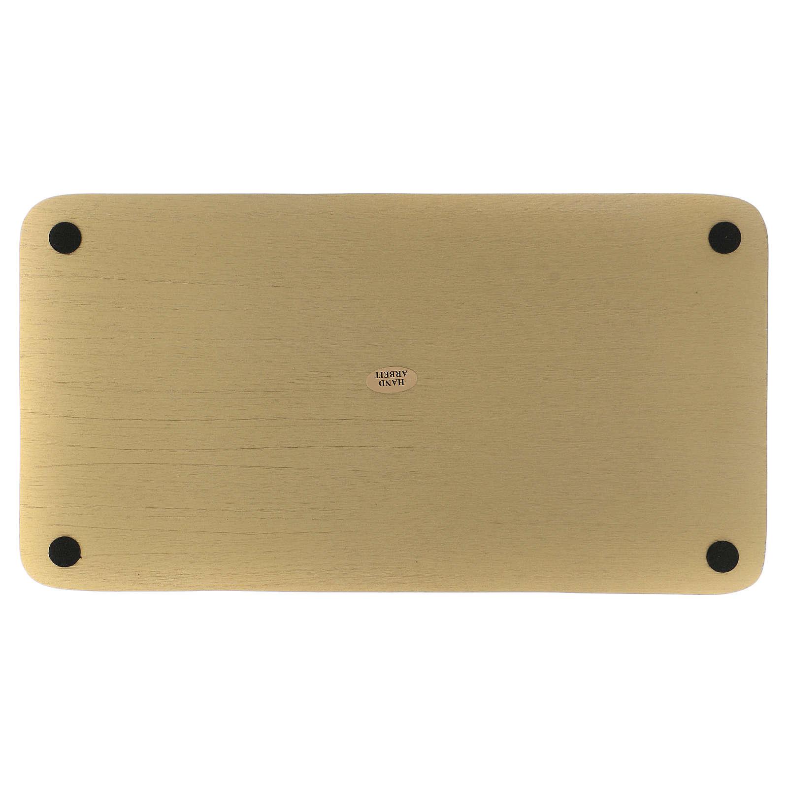 Piatto portacandele rettangolare alluminio dorato 30x16  3