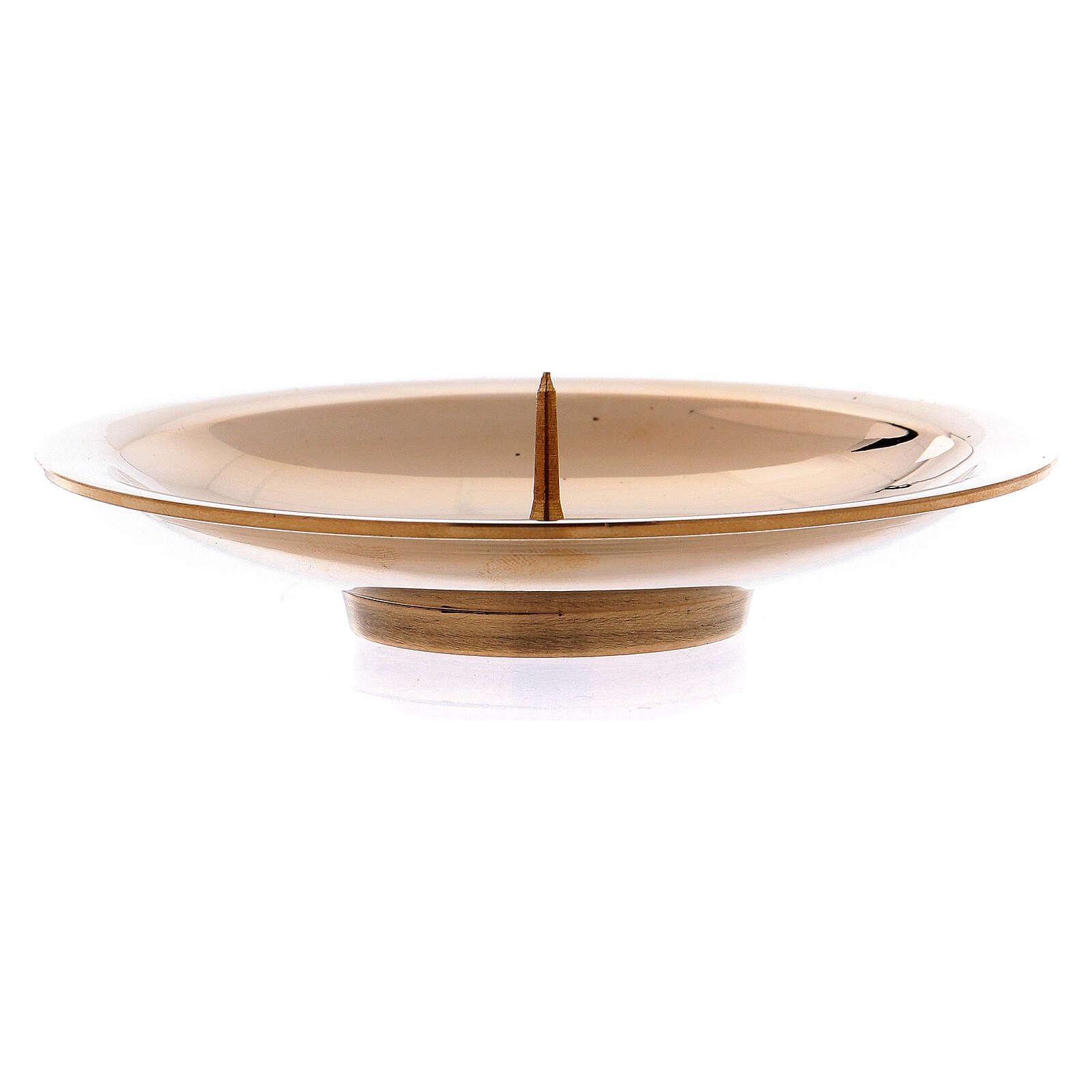 Porta-vela pino central latão ouro brilhante 8 cm 4