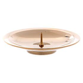 Porta-vela pino central latão ouro brilhante 8 cm s1