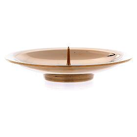 Porta-vela pino central latão ouro brilhante 8 cm s2