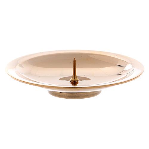 Porta-vela pino central latão ouro brilhante 8 cm 1