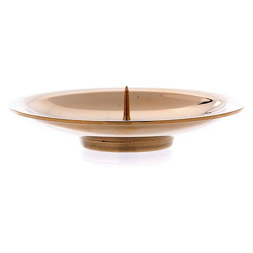 Porta-vela pino central latão ouro brilhante 8 cm 2