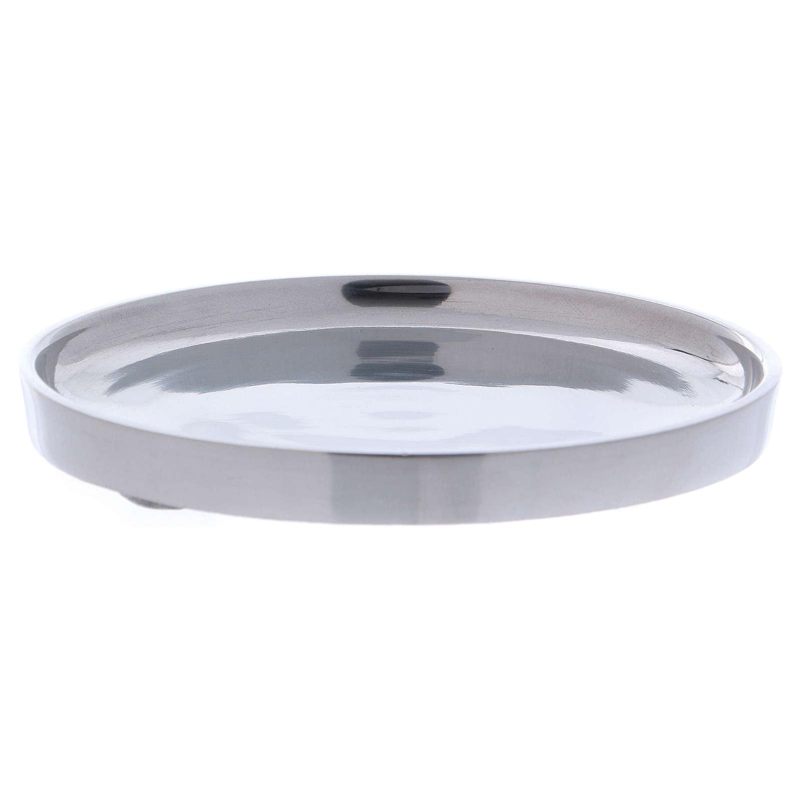 Piatto portacandele bordo rialzato alluminio argentato 12 cm 3