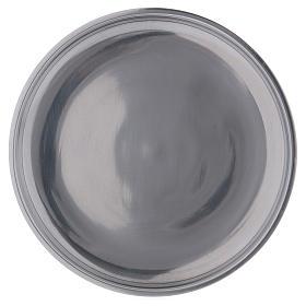 Piatto portacandele bordo rialzato alluminio argentato 12 cm s1